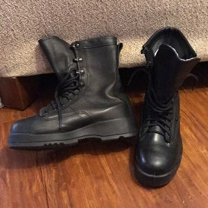 Vibram black leather Combat Work boots